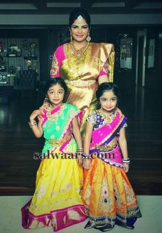 Manchu Vishnu Daughters in Half Sarees - Indian Dresses Frocks For Girls, Kids Frocks, Little Girl Dresses, Girls Dresses, Indian Wedding Bride, Wedding Wear, Kids Lehenga Choli, Sarees, Kids Party Wear
