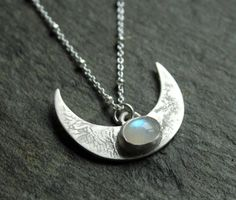 Lunar rising necklace - sterling silver and Moonstone moon pendant - reticulated texture - crescent moon