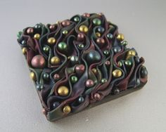 "Synergy Tile by Kim Cavender - 2"" x 2"" polymer clay tile for a mosaic project. Lovely!"