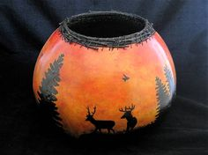 End of the Day Nature Inspired Gourd Art Bowl