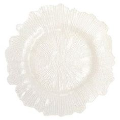 """Lend a touch of garden-chic appeal to your tablescape with this lovely glass charger plate, showcasing a floral-inspired silhouette and white finish.  Product: PlateConstruction Material: GlassColor: WhiteDimensions: 1"""" H x 13"""" DiameterNote: Color and plate texturing may slightly vary from photo shown due to the manufacturing processCleaning and Care: Hand wash only"""