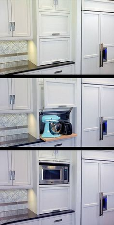 One door flips up to expose the mixer and toaster on a slide out shelf, while the upper door flips up to expose the microwave. From Mullet Cabinet.