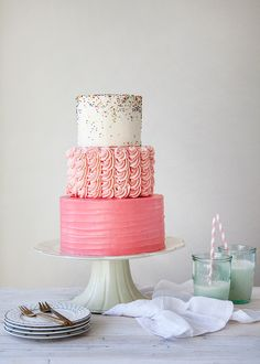 A Pink and Sprinkle Cake! I adore this, someone make it for my birthday?