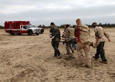 Instructors, staff and students assigned to Naval School Explosive Ordnance Disposal (NAVSCOLEOD) participate in a mass casualty drill. The drill simulated a premature detonation of ordnance that resulted in injuries such as multiple burns, wounds from fragments of exploded ordnance, broken bones and missing limbs. NAVSCOLEOD provides high-risk, specialized, basic and advanced EOD training to over 2,100 U.S. and partner-nation military and selected U.S. government personnel each year…
