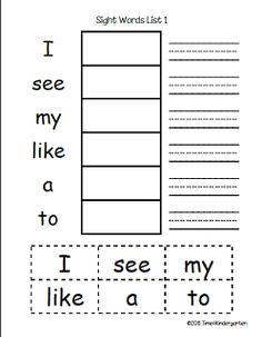 Time 4 Kindergarten: Sight Word Practice