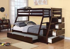 Stairway Bunk Bed - Twin Over Full W/ Storage And Trundle