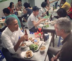 """I am grateful to John Schluter for drawing my attention to the last line of our report on Tuesday about Barack Obama's $6 dinner in Vietnam with Anthony Bourdain, the chef (above). """"Bourdain tweeted that he picked up the cheque."""""""