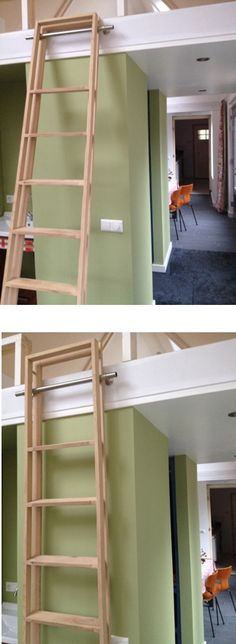 "Opklapbare ladder t.b.v. kleine ""mezzanine"" (tussenverdieping). Meer ladders op www.laddertjes.net"