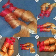 Orange coral , 100% human hair, clip in hair extensions $175 www.hairfauxyou.com