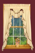 Primitive Jenny Country Ruffled 3 pc Swag Curtain Sets Rustic Cottage Cabin
