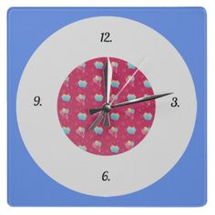 #Cupcake and #Balloons #Pattern #Square Wall #Clock