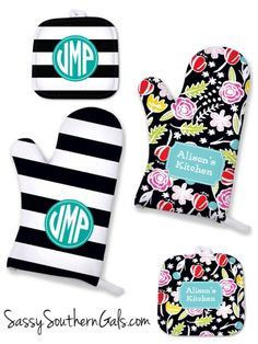 New to SassySouthernGals on Etsy: Monogrammed Oven Mitt Personalized Kitchen Accessories Monogrammed Pot Holder Oven Mitt Personalized Monogrammed Gift  Kitchen Gift (19.00 USD)