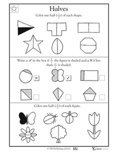 Ready for fractions? This coloring math worksheet introduces children to fractional parts by asking them to color in or of familiar shapes. Fractions Worksheets, Kindergarten Math Worksheets, Math Fractions, Kindergarten Reading, Math Resources, Teaching Math, Math Math, Maths, Teaching Ideas