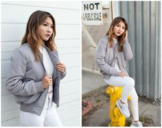 Get this look: http://lb.nu/look/8011216  More looks by Atsuna Matsui: http://lb.nu/atsunamatsui  Items in this look:  Hot Miami Styles Ice Gray Bomber Jacket, Savage Sevigny Top, Topshop Moto White Jamie Jeans, Nike Metallic Roshe One   #chic #minimal #sporty #greyscale #grayscale #graytones #greytones #nike #topshop