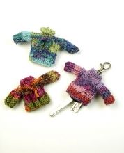Free pattern from Berroco, thanks!  Miniature key sweaters to keep the keys from scratching purse contents.