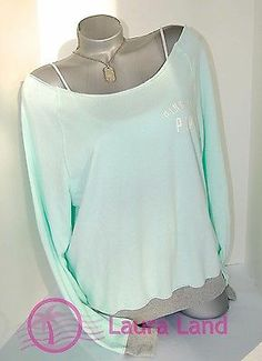 MY NEW FAVORITE COLOR! M~VICTORIA SECRET PINK CREW SWEATSHIRT OFF THE SHOULDER MINT GREEN & GRAY~NWT