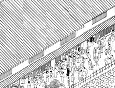 Architect Tsuyoshi Kawata of Japanese studio Tonoma has designed a ceramics market to fill the gap between two buildings in Osaka, Japan.