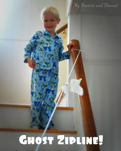 Silly Halloween Fun for Kids. Make a Ghost Zipline. This is awesome!