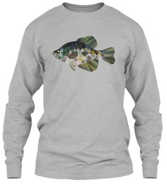 Low-Poly Black Crappie | long sleeve |  fishing | tees| dads| life stile| outdoors The black crappie: the gateway gamefish that is responsible for most anglers' addiction to fishing. One of the most popular, fun and delicious gamefish out there. Represented in a low-poly minimalistic graphic style, this t-shirt is a must have for the connoisseur angler and part of our low-poly art fish collection.