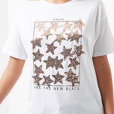 Short sleeve Relaxed fit Longline Sequin star embellishment Sequins are the new black print Crew neck