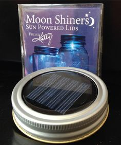Moon Shiners Solar Powered Lids by Primitives by Kathy - These solar powered lids fit any standard Mason or Ball Jar. Charges by day lights up by night! So may things you can do with these, to decorate around the house or out on the deck.