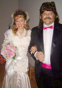 Super easy DIY 80s Bride and Groom costume idea.  Just borrow an old wedding dress from the 80s. http://www.liketotally80s.com/2013/09/80s-costume-bride-groom/