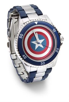 ThinkGeek :: Captain America Shield Watch NOT MADE OF VIBRANIUM-STEEL ALLOY Cap's Shield watch with navy blue and silver-colored bezel and band Officially-licensed Marvel merchandise Comes in a tin, suitable for gifting Batman, Spiderman, Marvel Dc, Capitan America Chris Evans, Dc Comics, Captain America Shield, Cultura Pop, Geek Chic, Wolverine