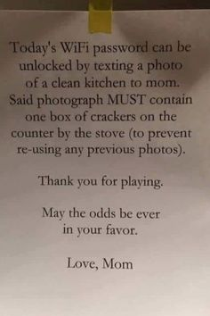 """Pin for Later: 1 Mom's Hilarious Instructions to Her Kids For """"Unlocking"""" the WiFi Password"""