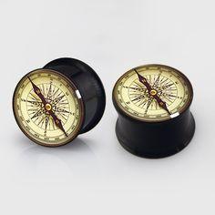 Vintage Compass  EarsPlugs Flesh TunnelsTapersplugs by EarsPlugs