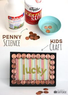 "St. Patrick's Day craft for the kids! Shine ""lucky"" pennies and make a frame!"