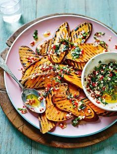 Griddled Sweet Potatoes with Mint, Chilli and Smoked Garlic....Uh, skip that mint!
