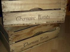 Some crates for a local florist that we branded for them. This is burnt into the wood, so its there for ever now.