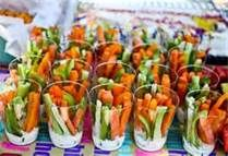 """""""Gorilla Grub"""" -- single-serving crudite cups with dip (hummus or ranch) for a jungle baby shower"""