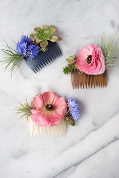 DIY Modern Floral Hair Comb // Design Sponge Supplies Hair comb
