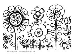 Free printable summer coloring page: Summer flower garden from Crabapple Designs