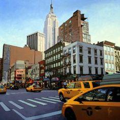 Manhattan - Patrick Kinn  #NewYork #Manhattan #US #art #Artiste #Artist #Landscape #Paysage #HomeDecor #Artwork Manhattan, Art Gallery, Street View, New York, Landscape, Artwork, Painting, Artist, Art Museum