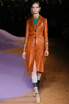 coats like illustrations. dimensional leather. Prada Spring 2015 Ready-to-Wear