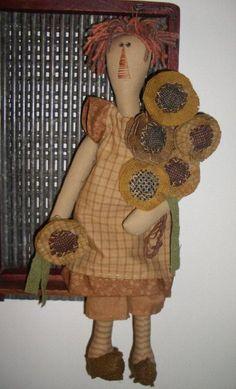 Primitive Doll Patterns | Sunflower Ann Primitive Doll Pattern by JAMS patterns