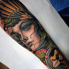 Stunning Neo Traditional Lady Tattoo Guys Forearms