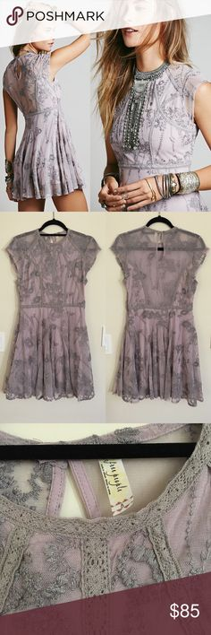 FP Laurel Lace Dress Gorgeous embroidered Laurel Lace Mini Dress by Free People in this mauvey lilac. Excellent used condition, no flaws. Free People Dresses