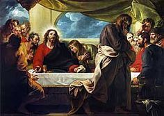 """The Last Supper by Benjamin West RA, 1738-1820, Anglo-American painter. Tate Gallery, London, England. The Son of Man will go just as it is written about him. But woe to that man who betrays the Son of Man! It would be better for him if he had not been born."""" 25 Then Judas, the one who would betray him, said, """"Surely not I, Rabbi?"""" Jesus answered, """"Yes, it is you."""" Matthew 26: 24-25"""