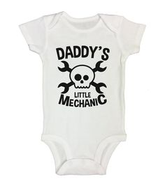 "Cute Baby Boy Onesie  "" Daddy's Mechanic "" Funny Kids Clothing - Gift for Dad - Bodysuits and Rompers - Tool Baby - Long Sleeve Option - 246"