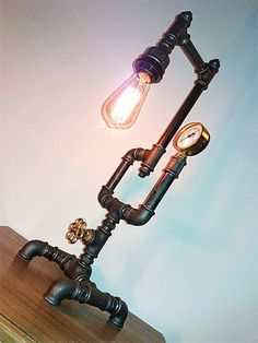 Pipe style Edison Bulb industrial Upcycled table lamp Steam