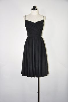 50s black chiffon dress / vintage strappy party by QuietUnrest