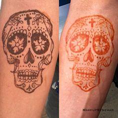 henna tattoo, henna design, bridal henna, mehandi, mehndi, design, body art ,  Day of the dead skull, skull, #makeupbysehar