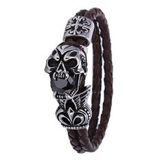 SWEETIE 8 Mens Unisex Skull Two Strands Leather Wrap Bracelet by SWEETIE 8 -- Awesome products selected by Anna Churchill