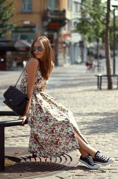 Floral Maxi Sundress, Black Converse // casual