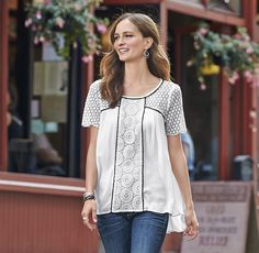Toccata Top - short sleeve top with lace shoulders, sleeves and contrasting trim.