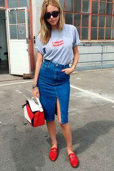 Saia Jeans com fenda