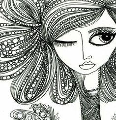 cool face and hair zentangle design - Zentangle - More doodle ideas - Zentangle - doodle - doodling - zentangle patterns. zentangle inspired - #zentangle #doodling #zentanglepatterns